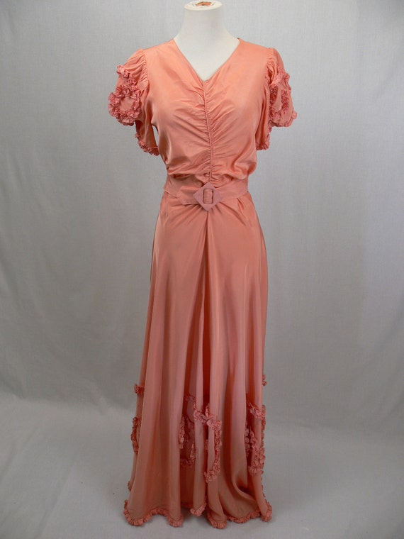 RESERVED for Hannah-1930s Split Back Gown