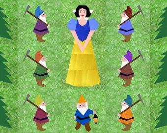 Snow White & the 7 Dwarfs quilt blocks, Set of 5 paper pieced quilt block patterns PDF, instant download