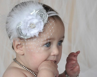 Baptism Baby Headband Christening Flower Girl Fascinator in Silver and White Photo Prop Birthday Girl