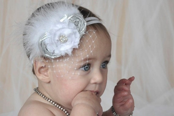 Christening Baby Headband Baptism Flower Girl Fascinator in Silver and White Photo Prop Birthday Girl