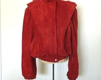 1980s Red Suede Coat Leather Triangular Shoulders Futuristic Zip Front Jacket Womens Vintage Medium