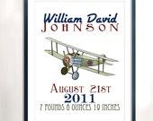 PRINTABLE FILE-  Airplane Birth Stats Print - Custom Child Art