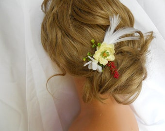 Red White Cream Hair Flower Wedding FavorHair Pins Bridal Party Accessory Set 5 Pc