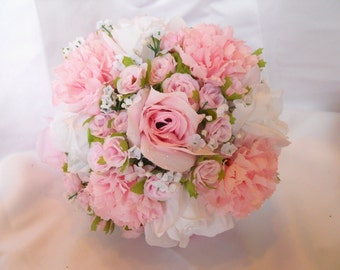 Victorian Wedding Bridal Bouquet Package 6 Pc Soft Pink And White Roses With Carnations