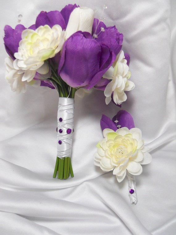 Wedding Bouquet Purple And White Tulips With Groom's Boutonniere For Wedding Day