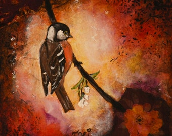 A wing and a prayer - Original bird mixed media painting on wood panel by Jane Hinchliffe