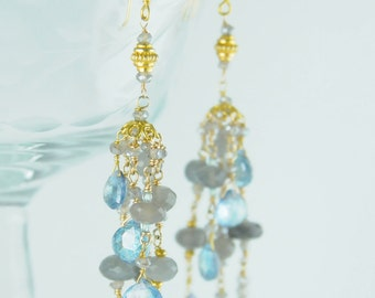 Holiday Gift Ideas,18k Gold Earring,Sky Blue Topaz Earrings,Blue Bridal Jewelry, Luxe Holiday Gifts, Gifts for Mom