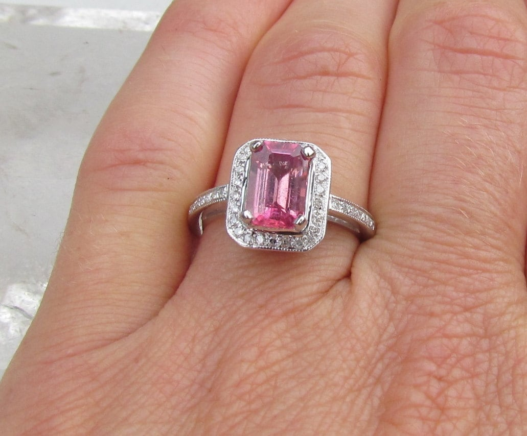 pink sapphire engagement ring emerald cut pink by