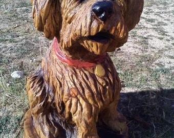 Chainsaw Carving Dog Portrait - Custom Sculpture, Terrier