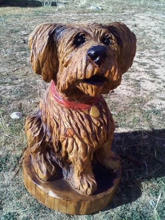 Chainsaw carving dog portrait custom sculpture terrier