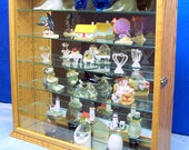 Oak- Wall- Display-Glass-Curio Cabinet