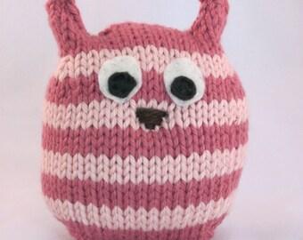 Pink Owl Toy, Stuffed Pink Owl, Pink Striped Handknit Stuffed Owl, Plush Toy