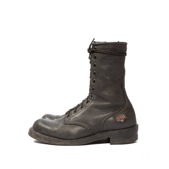Men's Harley Davidson Motorcycle Zipper Boots in Combat Boot Style for a Size 10
