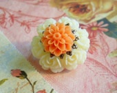 Brooch Yellow and Orange Resin Flower Brooch