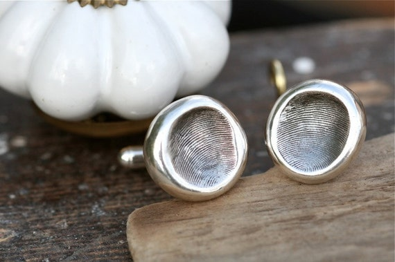 Wedding Fingerprint Nugget Cufflinks - wedding cuff links, silver cuff links, custom cuff links, groom cuff links