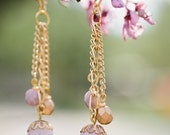 lavender & gold trio drop earrings *sale*