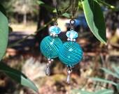 Swirling Seas handmade gift delicate blue green swirling hollow glass Earrings