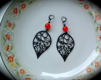 Red and Black Statement Earrings bold handmade jewelry gift