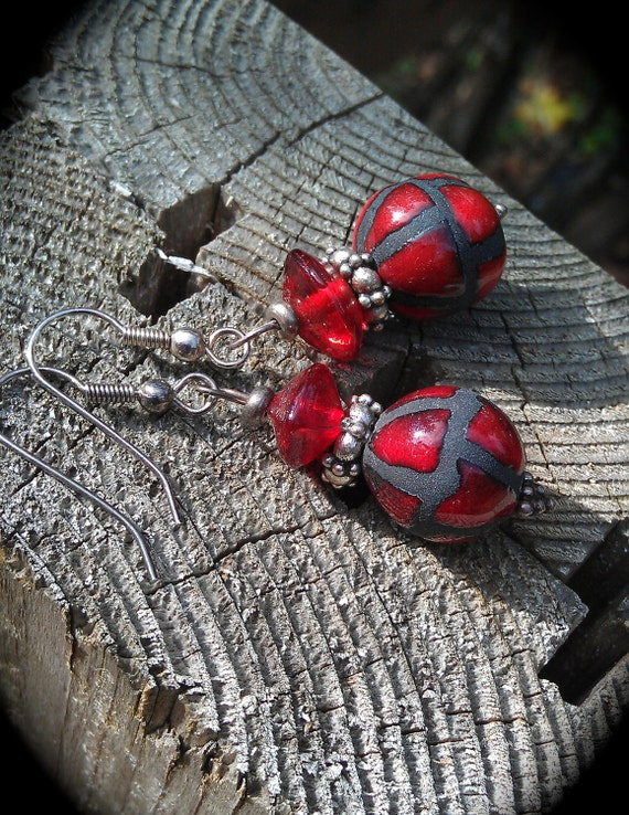 Red and Black Earrings statement jewelry