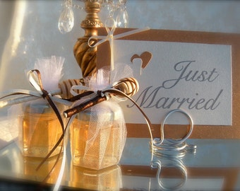 Edible Wedding Favors, 4oz Honey Jars With Dippers, 75pcs