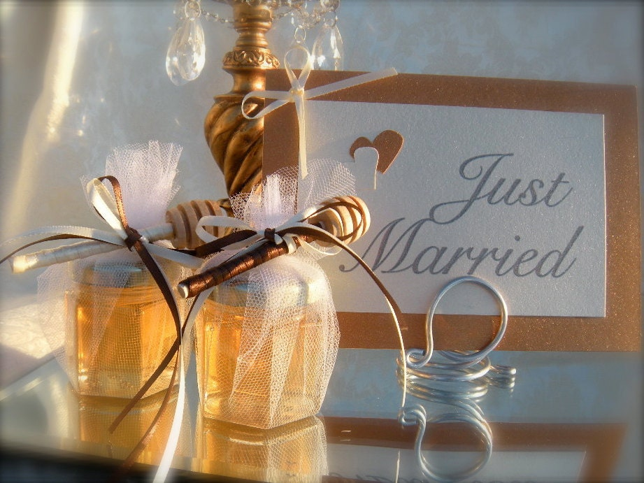 Edible Wedding Favors 4oz Honey Jars With Dippers 75pcs