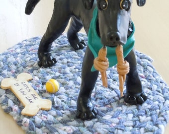 polymer clay dog statue approximately 3 to 5 in size