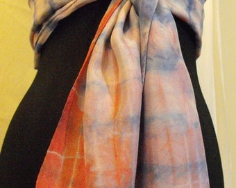 One of kind Hand Dyed Silk Scarf. Main colors Red and Blue