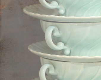 Still life photography, 3 antique cups photo seafoam green 8x10 photograph