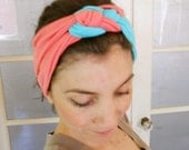 ON SALE Before 24 Dollars knotted turban Headband made of elastic fabric in Salmon and aqua blue color