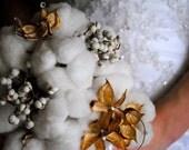 Cotton Boll Bridal Bouquet - Natural Cotton - Raw Cotton - Dried Floral - Tallow Berries - Cotton Burs - Bride - Bridesmaid