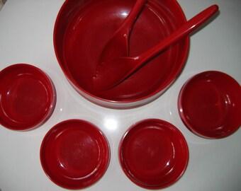 Ingrid Salad Bowls PLUS fork spoon.  Vintage 1970 Modern. Mid century. RED Plastic.  Mod Panton ERA