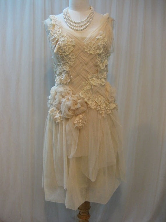 Custom Made Hand-embroidered Ivory Crisscross Dress