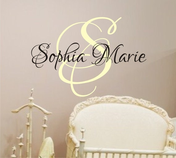 Baby Girl Nursery Wall Decal Monogram Name Vinyl Lettering