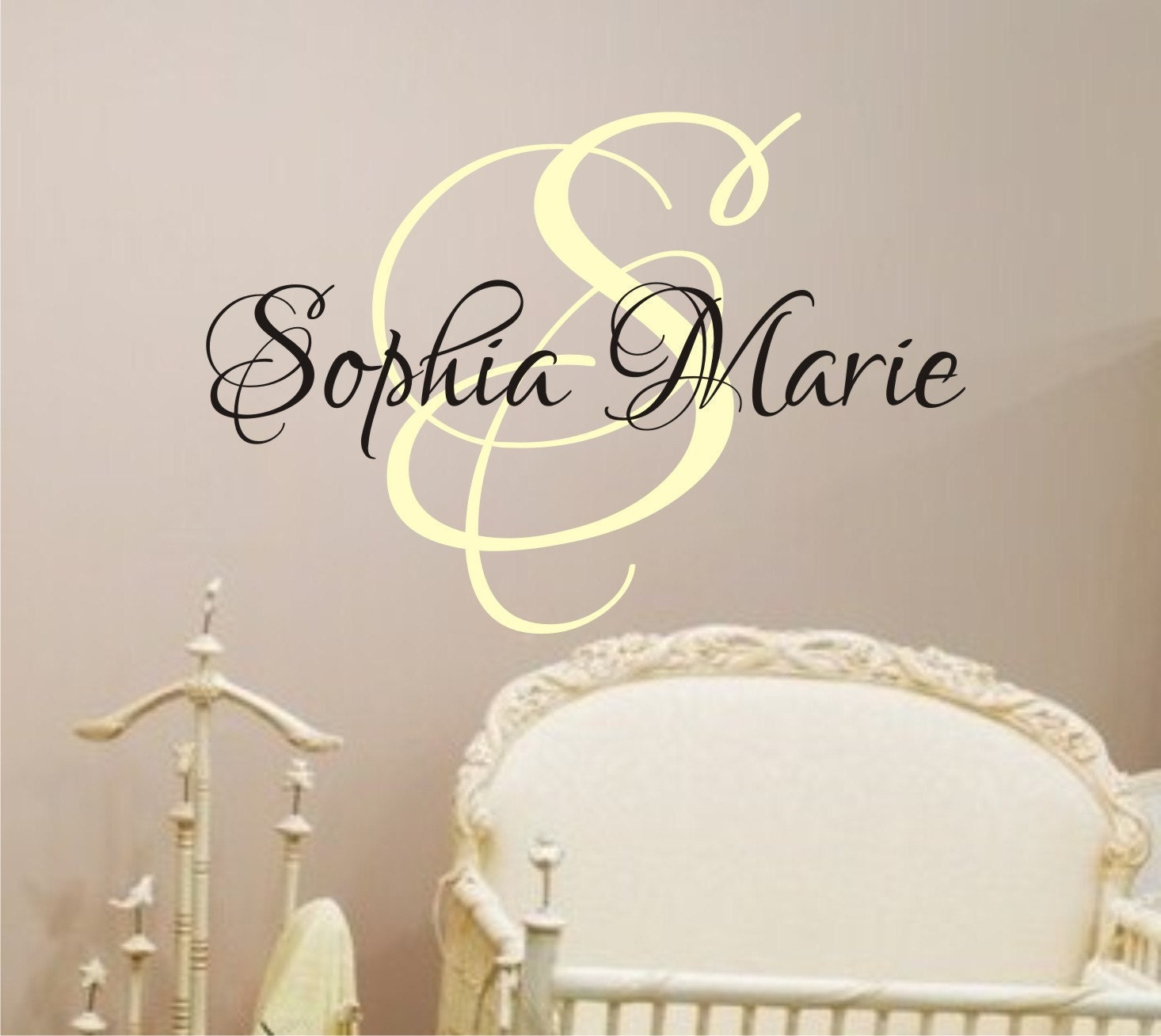 baby girl nursery wall decal monogram name vinyl lettering. Black Bedroom Furniture Sets. Home Design Ideas