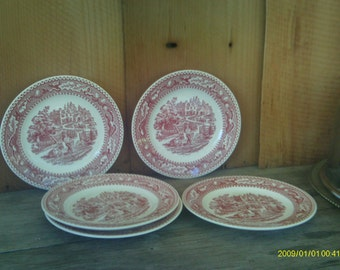 Vintage Memory Lane Royal Ironstone China / Red Pink Transferware Plates / 5 Dessert Dishes