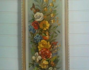 Vintage Wall Plaque / Floral Print / Cork Board Plaque / Soroka