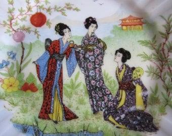 Vintage Pair Asian Wall Decor Plates Kimonos Tea Garden Japanese Lanterns