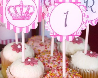 Princess Party Circles/Cupcake Toppers - INSTANT DOWNLOAD - Editable & Printable Birthday Decorations by Sassaby