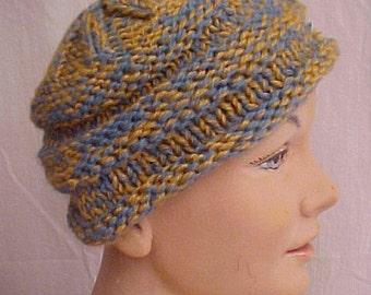 Vintage 1920s Hat  Crochet Knit Cap Wool Cloche Hat Star Design 2 Colors