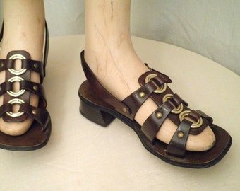 Vintage 1970's Leather Sandals Brown Gladiator Sandals Metal Rings Size  6 and one half