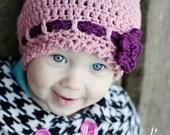 "Crochet Toddler Hat Pattern:  ""Strawberry Fields Forever"" Crochet Cloche, Crochet Beanie, Crochet Flower"