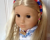 Headband for American Girl Doll, Red, White, Blue, Blue stripe