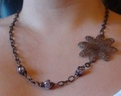 Natural Brass Hand Embellished Passion Flower Necklace with Mauve Color High Quality Swarovski Crystal Pearls