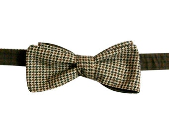 Last Chance! houndstooth brown cotton freestyle slim batwing bow tie