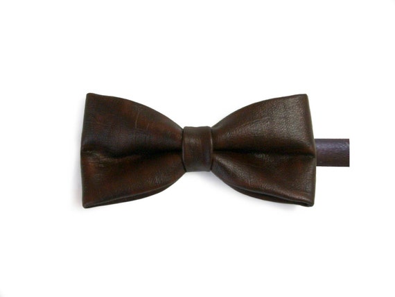 Last Chance To Buy - Burgundy mixed brown faux leather bow tie