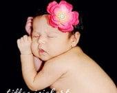 Infant Headband..Baby Headband.. Baby Hot Pink and Black Flower Headband..Girl Hot Pink Flower Headband..Newborn Hot Pink Flower Headband.