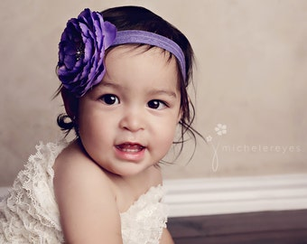 Baby Headband..Baby flower Headband..Purple Baby Girl Flower Headband with Rhinestones..Infant purple flower headband