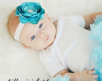 Baby Headband..Baby Flower Headband..Newborn Headband..Turquoise  White Headband with Rhinestones..Flower Headband..Turquoise Blue Headband