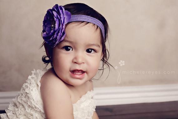 Baby Headband..Baby flower Headband..Purple Baby Girl Flower Headband with Rhinestones..Infant purple flower headband
