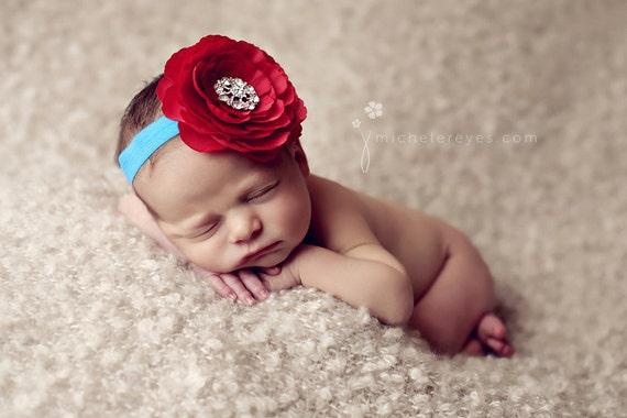 Red and Turquoise Flower Headband..Rhinestones..Baby Girl Red Flower Headband..Large Flower Headband..Baby Headband..Baby Flower Headband